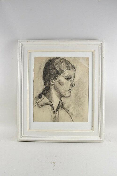 Charcoal Portrait, Signed 1917