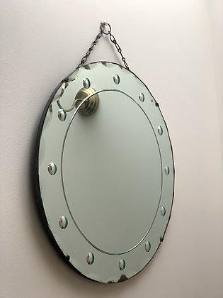 Mid Century Mirror With Bevelled Edge & Wooden Back