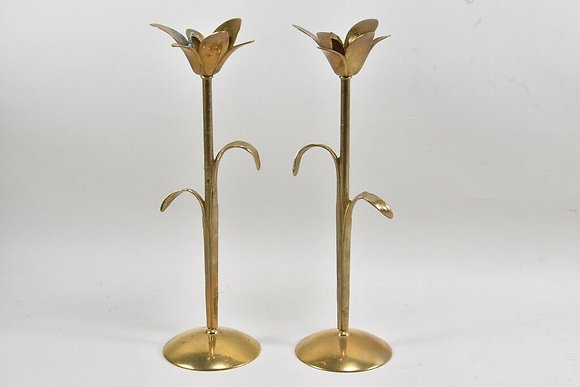 Tall Brass Candlesticks Flower Shape.