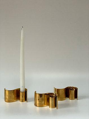 Set of Three Swedish Brass Candlesticks, 20th Century