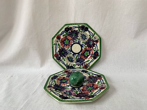 Pair of Baker's Arcadie Octagon Hand Painted Plates