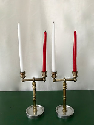Mid Century Pair of Two Armed Candlesticks