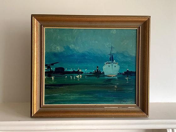 Framed Oil, Evening Harbour Scene