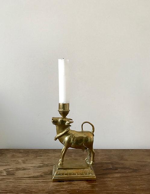 Vintage Brass Cow Candlesticks