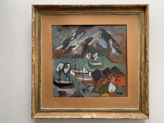 Framed Oil, 'Lofoten Hafen' by Nils Hahne 1918-1979