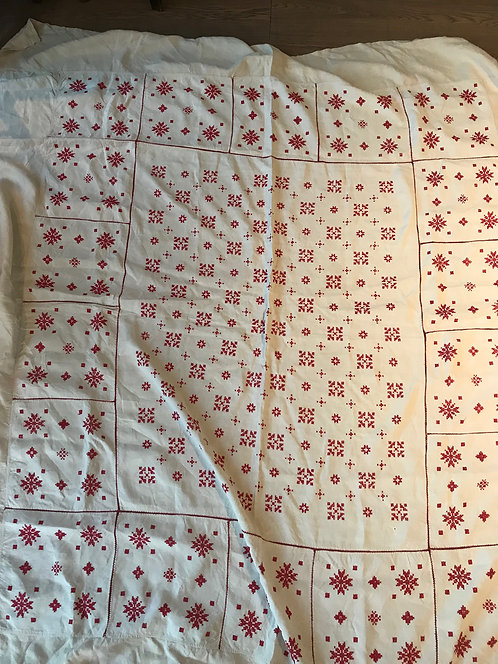 Vintage striking Scandi style Irish linen bedspread with red hand embroidery