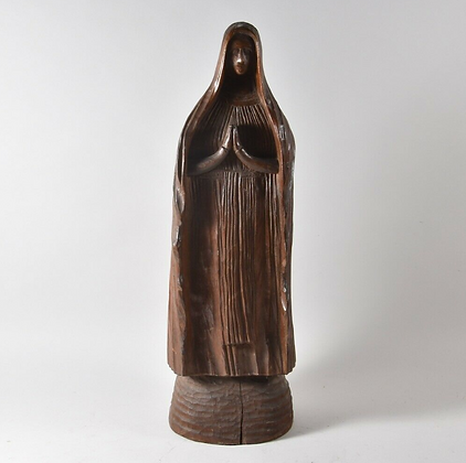 Carved Wooden Praying Figure, Initialed W.H