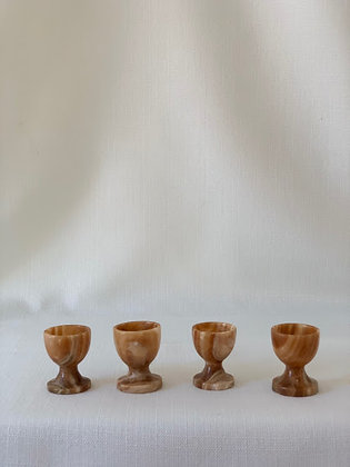 Set of Four Onyx Egg Cups