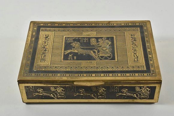 Brass Box With Chariot Motif Wooden Interior