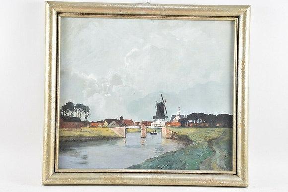 Framed Painting Rural Scene, 20th Century