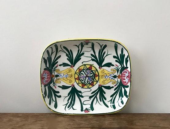 Vintage Faience Rectangular Dish Plate Hand Decorated: Art Nouveau Style Flowers