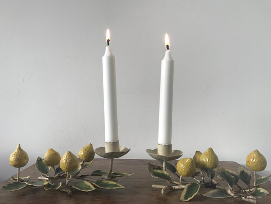 A Pair of Italian Tole Candle Holders