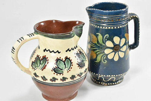 Set of Two Decorative Hand Painted German Jugs