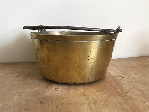 Brass jam /preserve pot cast iron handle