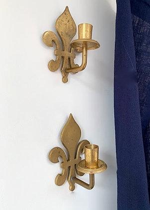 Brass Fleur-de -lis Sconces