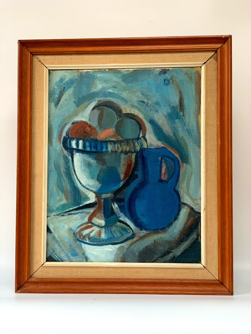 Cup with fruits and blue jug, illegible signed, dated 1963