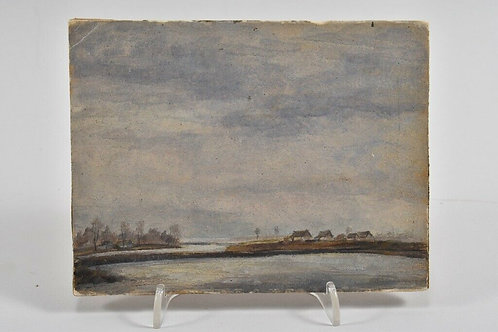 Painting On Board, Landscape With Houses