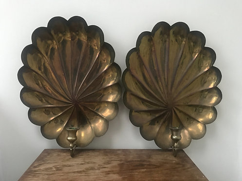 Vintage Pair is Large Brass Reflector Sconces