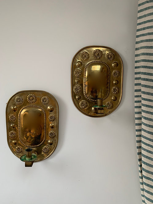 Swedish Brass Sconces, Early 20th Century.