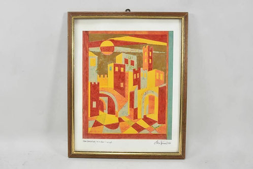 Framed Mix Media, 'San Gimignano', byTheo Steindel
