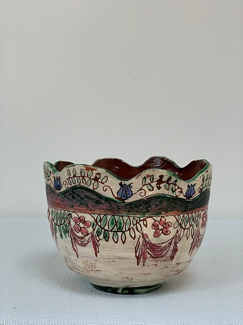 Decorative Ceramic Bowl, Wavy Edge