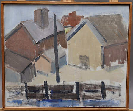 Harbour Scene, Oil on Canvas, Mid Century