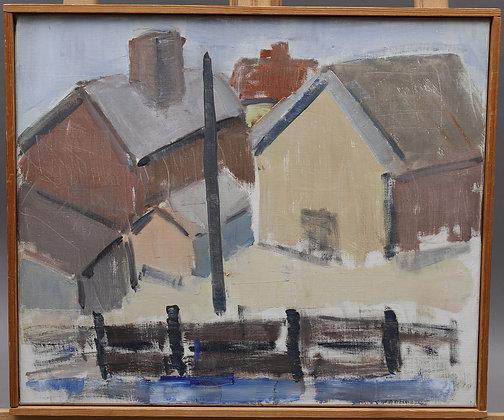 Harbour Scene, Oil on Canvas, Mid Century