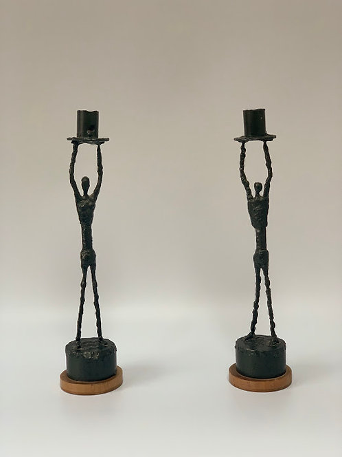 Pair of Handmade Vintage Candlesticks