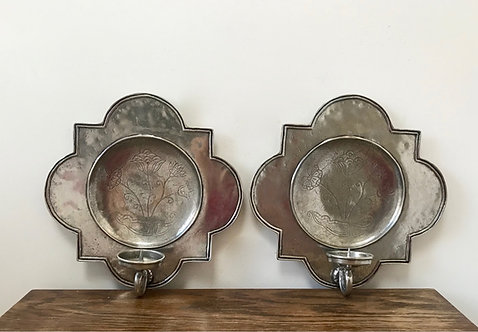Pair of Italian pewter sconces