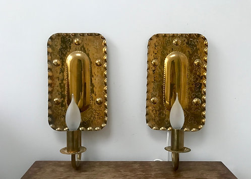 Vintage Pair of Swedish Brass Wall Lights