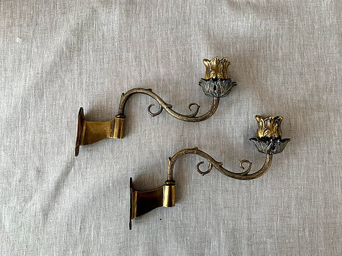 Pair of Antique Brass Piano Sconces