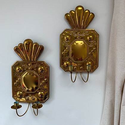 Pair of Swedish Brass Sconces, Early 20th Century