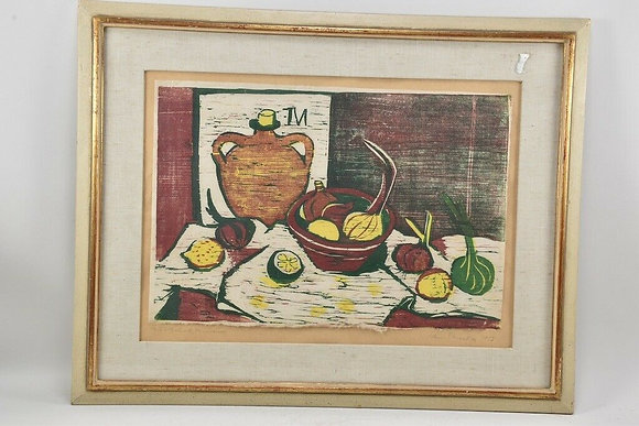 Framed Colour Woodcut, Dated 1956