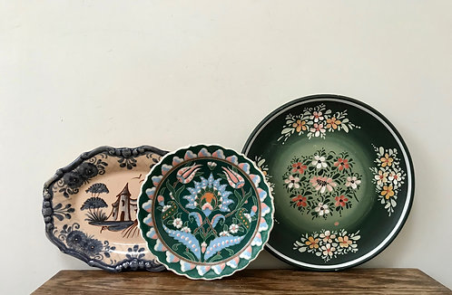 Set of Three Wall Plates - Varying Style & Age.