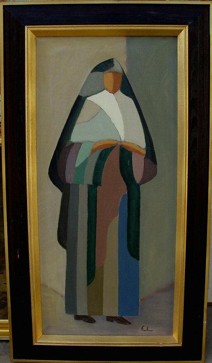 Ernst Larson 1911-1998 , composition with nun, c. 1960