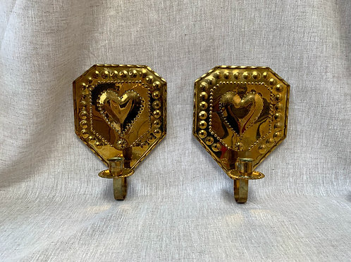 Pair of 20th Century Brass Sconces