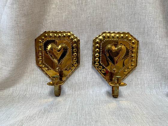 Pair of 20th Century Brass Sconces