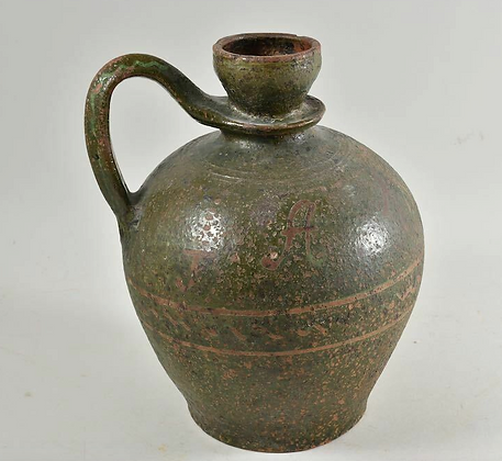 Green Ceramic Bottle, 19th Century, German