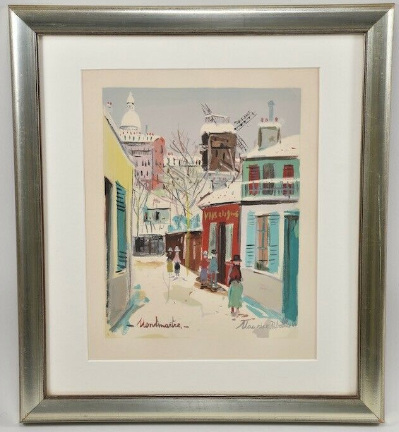 Color lithograph, signed in the print. Maurice Utrillo (1883-1955), Montmartre