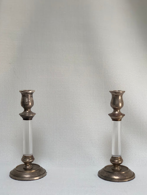 Pair of Silver Plated and Lucite Candlesticks