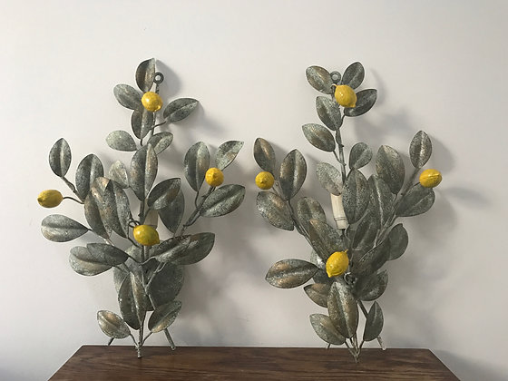 A Pair of Toleware Lemon Tree Wall Lamps