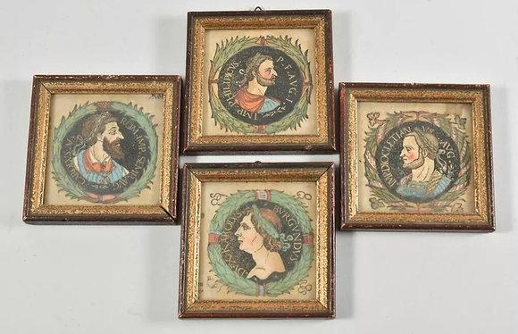 Set of Four Small Lithograph Roman Portraits