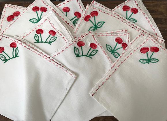 A Set of Ten Cherry Napkins
