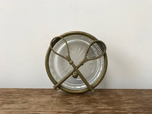 Brass and Glass Tennis Ashtray.