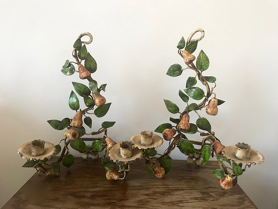 A Pair of Tole Pear & Leaves Double Armed Sconces