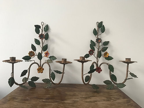 Pair of Toleware Double Armed Sconces