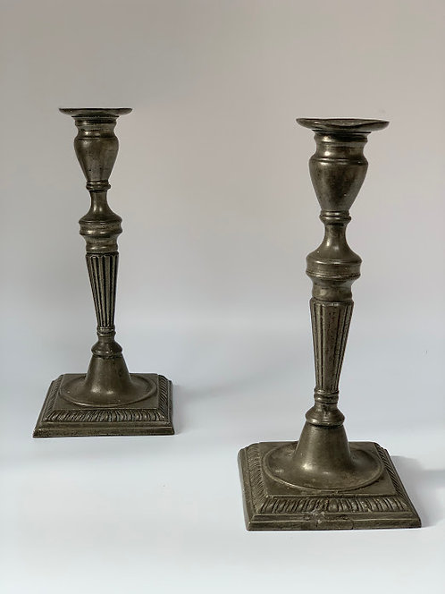Pair of Antique Pewter Candlesticks