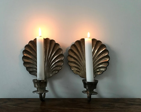 Pair of Wall Hanging Scallop Shell Candle Sconces