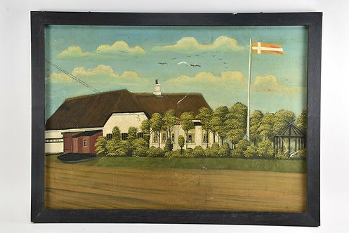 Oil Painting, View of Farm, 20th Century, Danish.