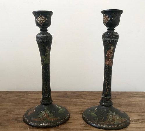 Vintage Kashmiri hand painted turned wood candlesticks pair